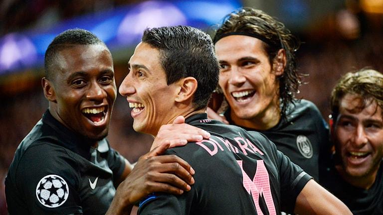 Angel Di Maria gav PSG ledningen med 1-0 mot Malmö FF. Foto: TT Nyhetsbyrån
