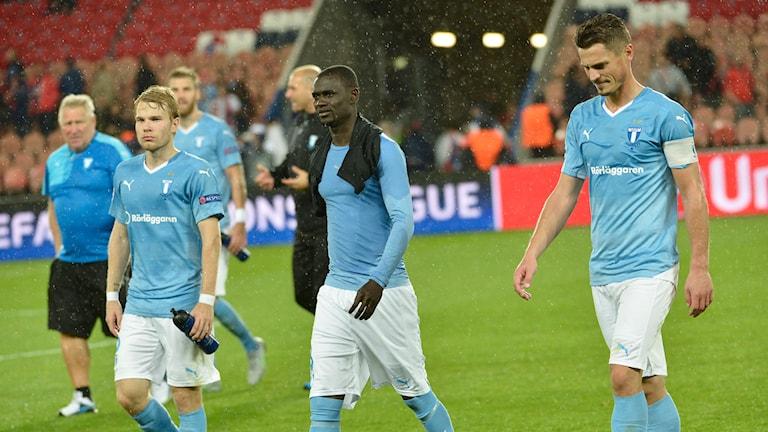 Malmö-spelarna var deppiga efter förlusten mot PSG. Foto: TT Nyhetsbyrån