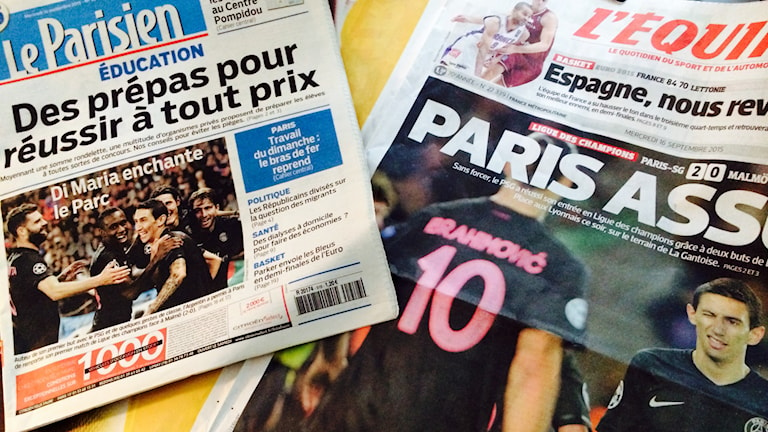 Paris-tidningarna dagen efter matchen.