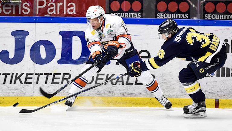 Växjös Richard Gynge (tv) i kamp om pucken med HV71:s Niklas Hansson. Foto: Mikael Fritzon/TT