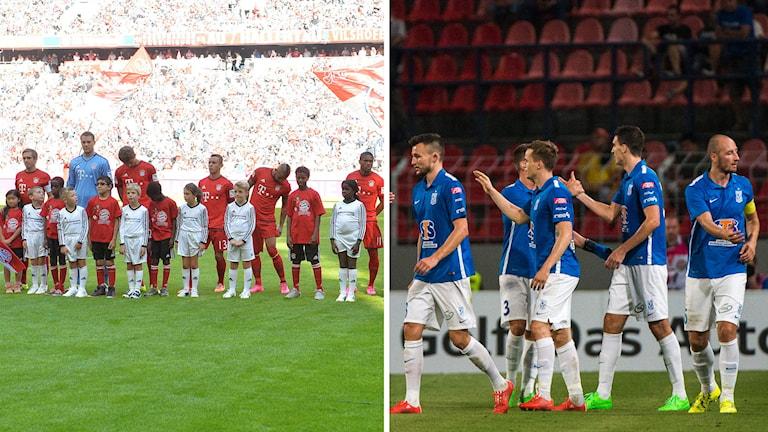 Till vänster, flyktingbarn tillsammans med Bayern München-spelarna, till höger Lech Poznan spelar inför liten publik. Foto: TT