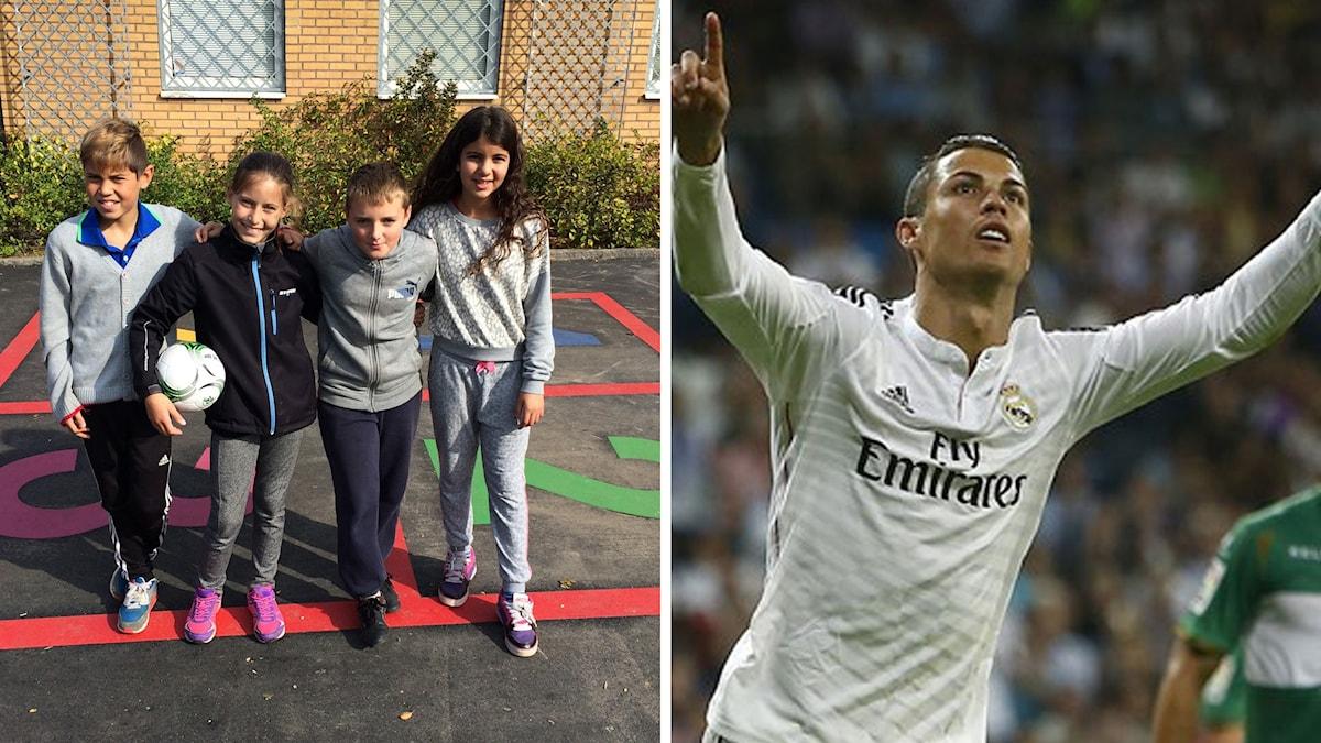 Juniorsporten, montage barn och Christiano Ronaldo. Foto: Madeleine Frisch Lärka/Sveriges Radio och TT.