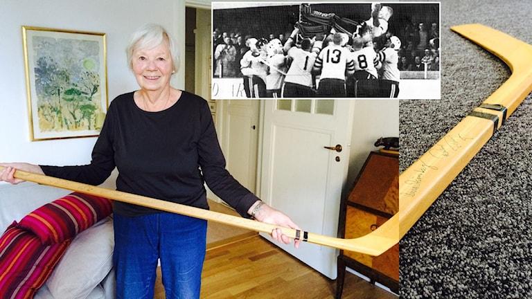 Birgitta Axelsson som skänkt hockeyklubban Radiosporten ska auktionera ut. Foto Martin Marhlo/Sveriges Radio