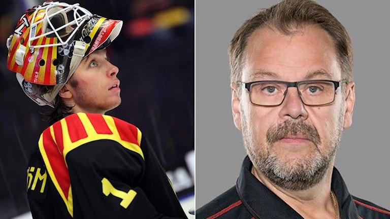 Brynäs 18-årige målvakt Felix Sandström och lagets målvaktstränare Pecka Alcén. Foton: TT.