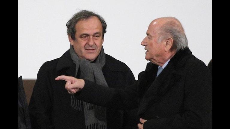 2014 Michel Platini och Sepp Blatter. Foto: Christophe Ena/TT