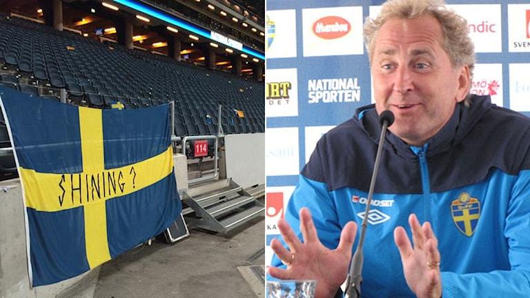 Collage Shining-flagga och Erik Hamrén. Foto: Richard Henriksson och Martin Hedberg/SR