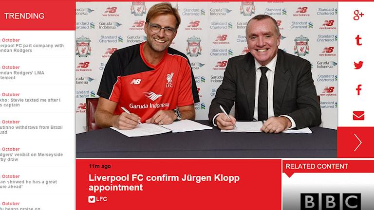 Liverpool bekärftar på sin hemsida att Jürgen Klopp är klar som ny tränare. Foto: Skärmdump