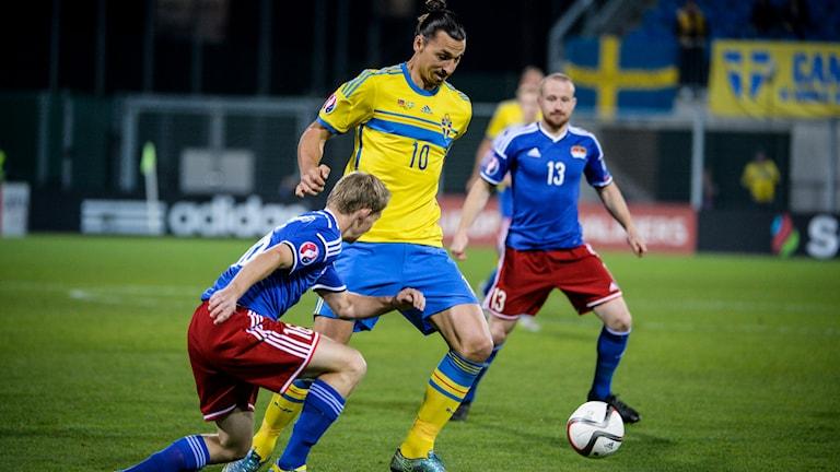 Zlatan Ibrahimovic i EM-kvalet mot Liechtenstein. Foto: Janerik Henriksson/TT