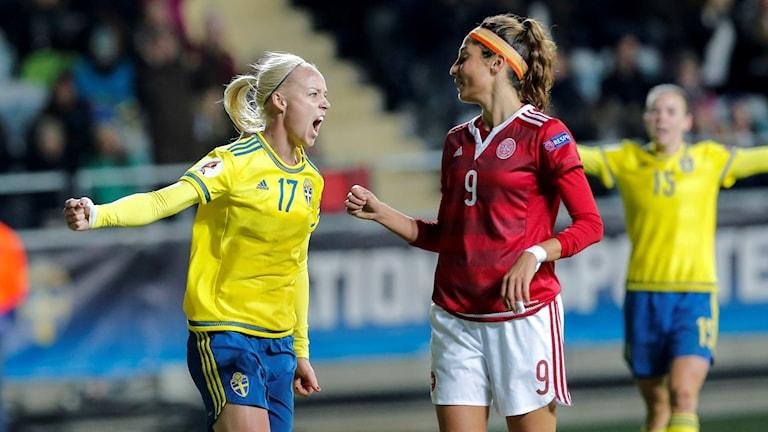 Caroline Seger spräckte nollan på Gamla Ullevi i EM-kvalet mot Danmark. Foto: Adam Ihse/TT