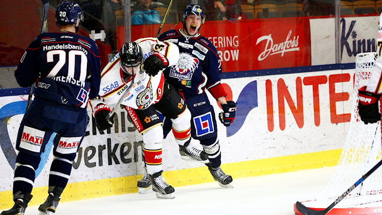 LINKÖPING 20151027 Linköpings Vilmos Gallo jublar efter sitt 3-0 mål under tisdagens SHL-match mellan Linköping HC och Luleå Hockey på Saab Arena. Foto: Stefan Jerrevång/ TT
