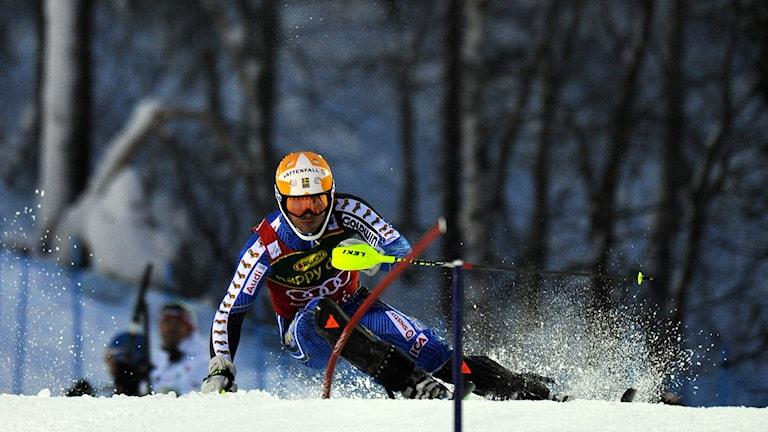 André Myhrer under slalomtävlingarna i Levi 2012. Foto: AP Photo/Giovanni Auletta/TT