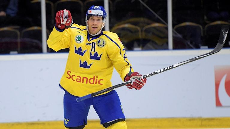 Joel Lundqvist gjorde två mål mot Tjeckien. Foto: Fredrik Sandberg/TT