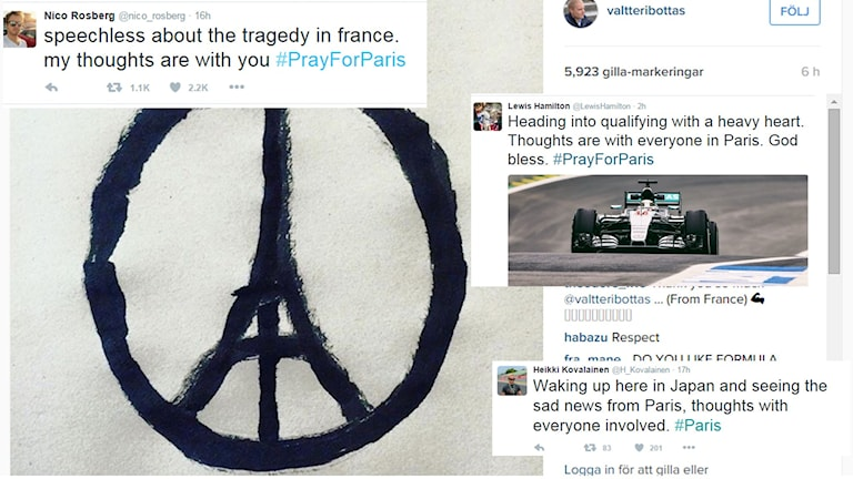 Förarnas reaktioner efter terrordåden i Paris. Foto: Skärmdumpar