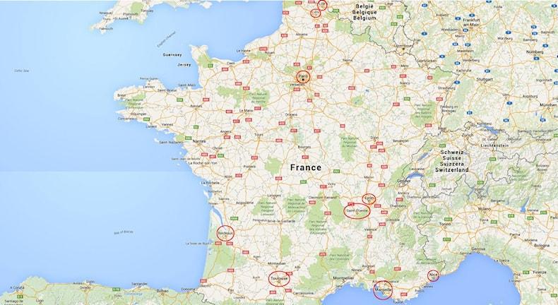 EM 2016 i Frankrike. Karta med spelorter. Karta: Google.