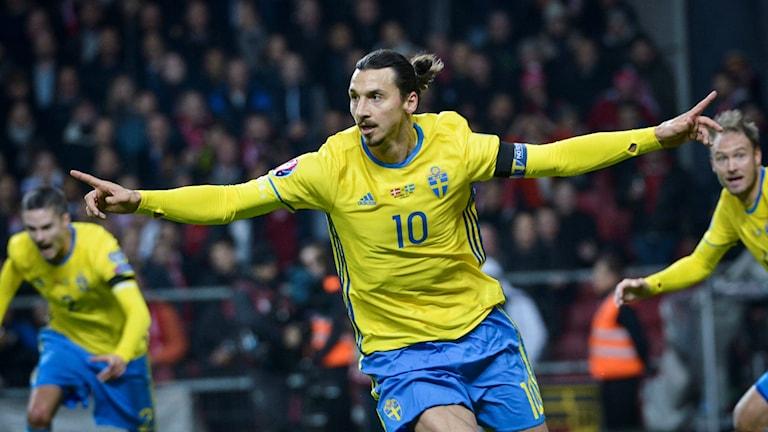 Zlatan Ibrahimovic ger Sverige ledningen med 1-0 i den avgörande play off-matchen. Foto: Jonas Ekströmer/TT