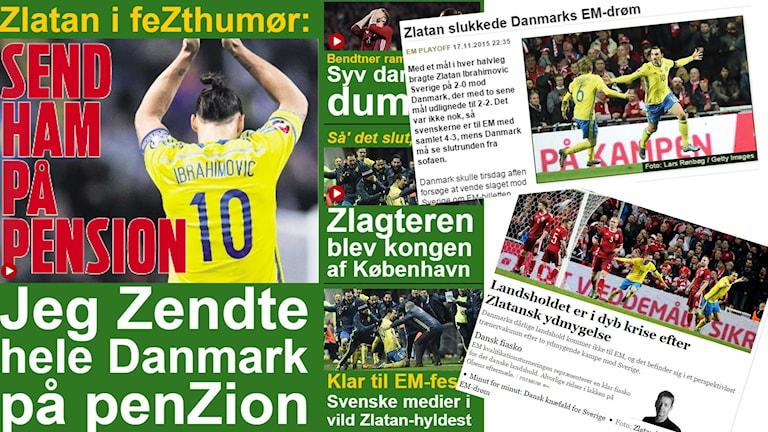 Danska mediers reaktioner på Danmarks förlust mot Sverige. Foto: Skärmdumpar