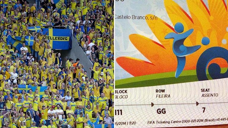 Collage svenska fans och biljett