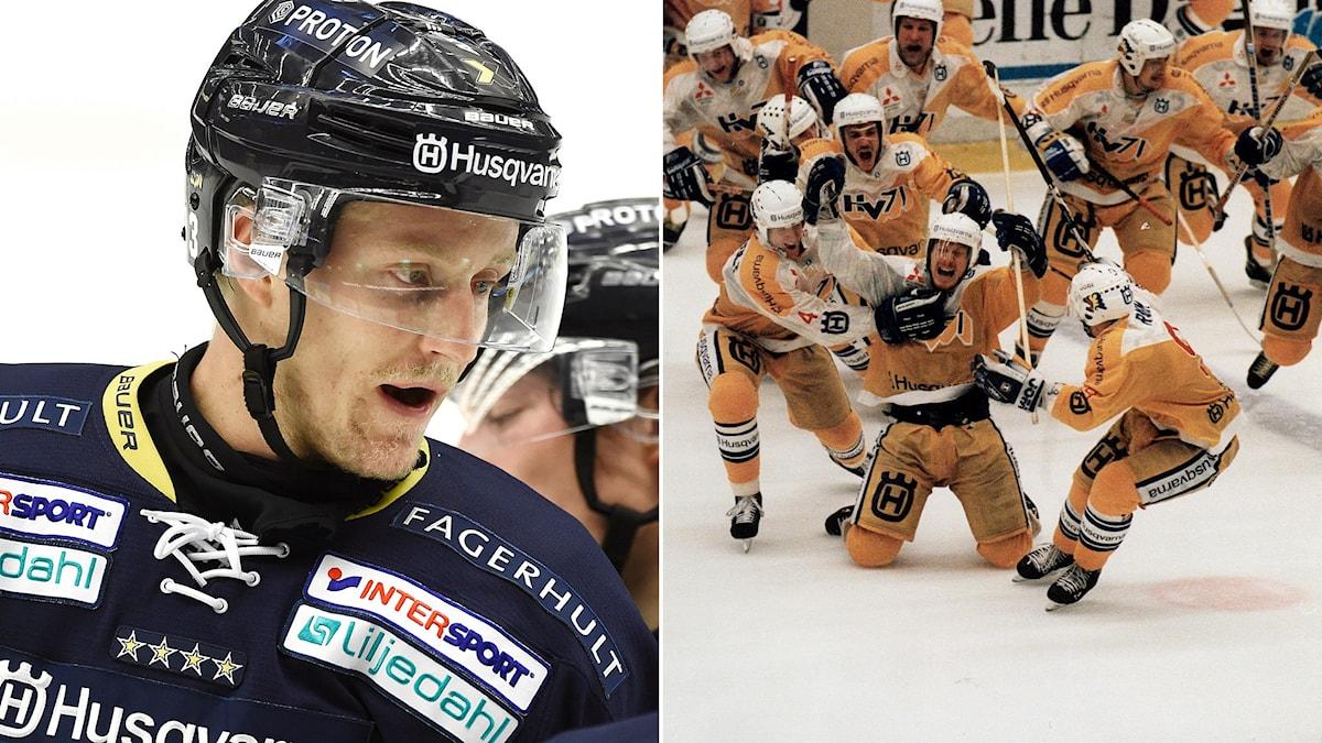 HV 71-forwarden Oscar Sundh (t.v.) börjar planera för livet efter hockeykarriären. 8 av 10 rån HV:s guldlag 1995 jobbar idag som ledare eller chefer. Foton: TT.