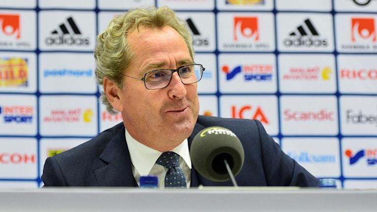 Fotbollslandslagets förbundskapten Erik Hamrén håller pressträff. Foto: Marcus Ericsson/TT