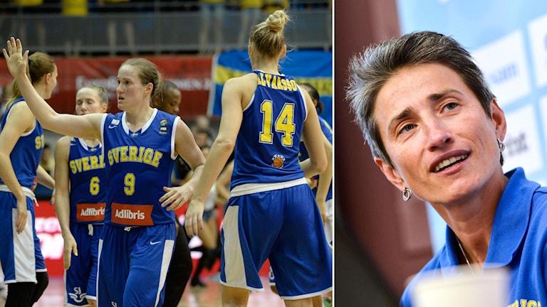 Svenska basketlandslaget och förbundskapten Jurgita Kausaite. Foto: TT Kollage: SR