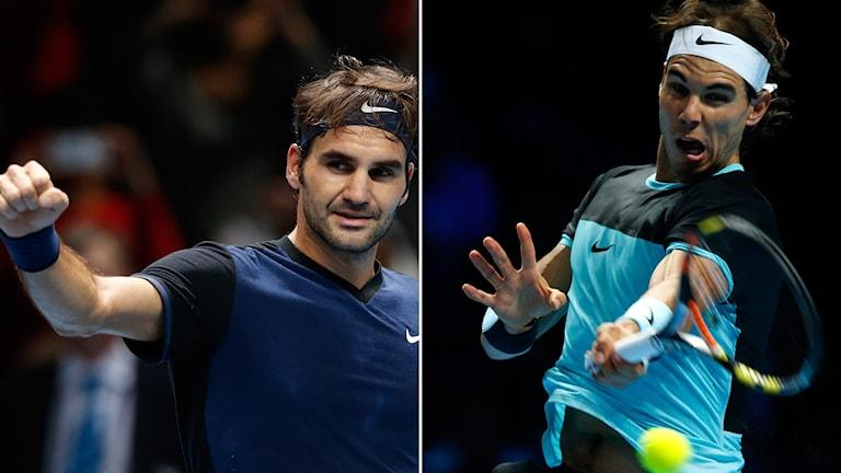 Roger Federer och Rafael Nadal är obesegrade i årets ATP-slutspel inför lördagens semifinaler. Foton: TT.