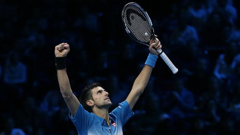Novak Djokovic efter segern mot Rafael Nadal i ATP-slutspelet