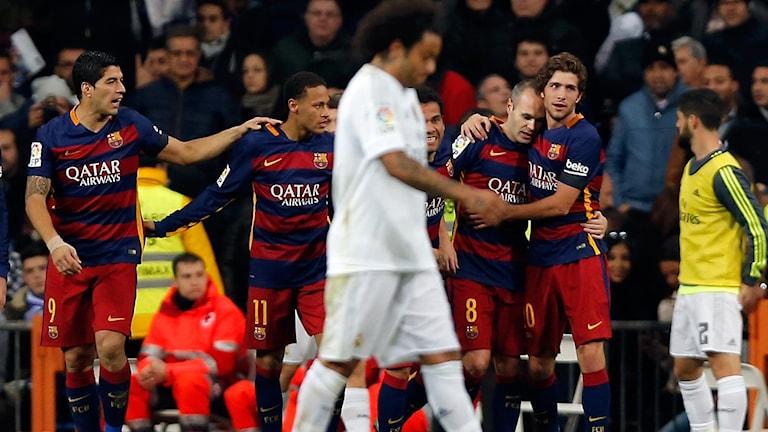 Barcelona jublar efter 0-3-målet mot Real Madrid