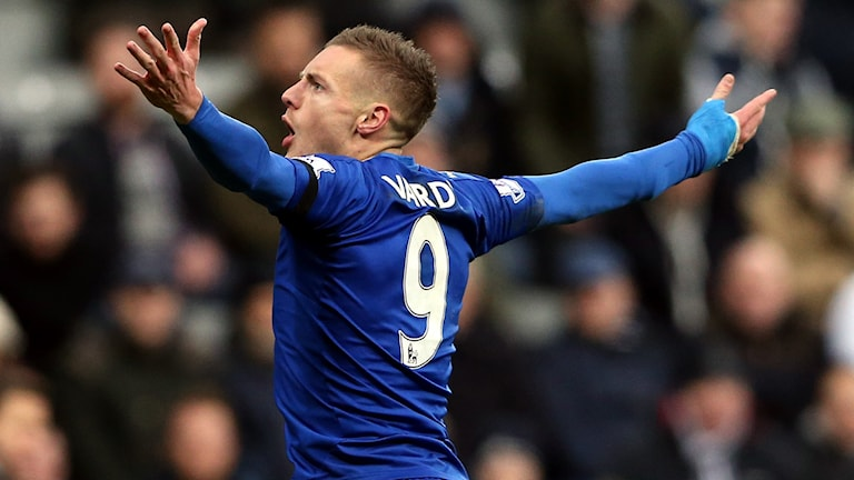 Leicesters Jamie Vardy har nätat i tio matcher i rad. Foto: AP Photo/Scott Heppell/TT