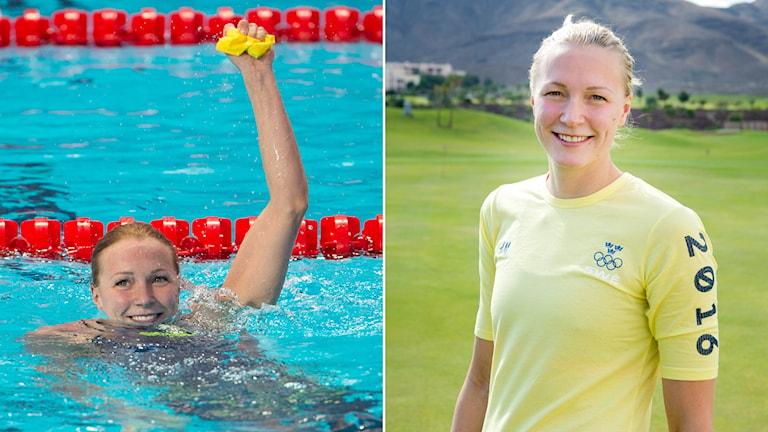 Sarah Sjöström när hon tog VM-guld på 50 m fjäril, och under pressträffen