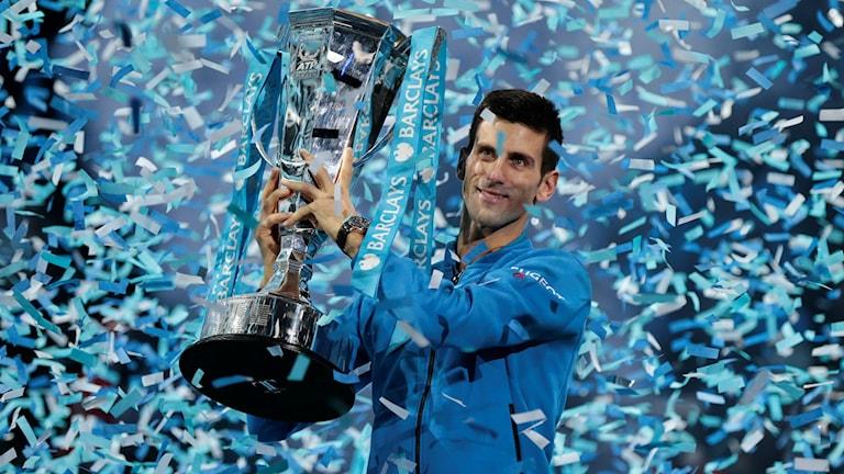 Novak Djokovic efter segern i ATP-slutspelet
