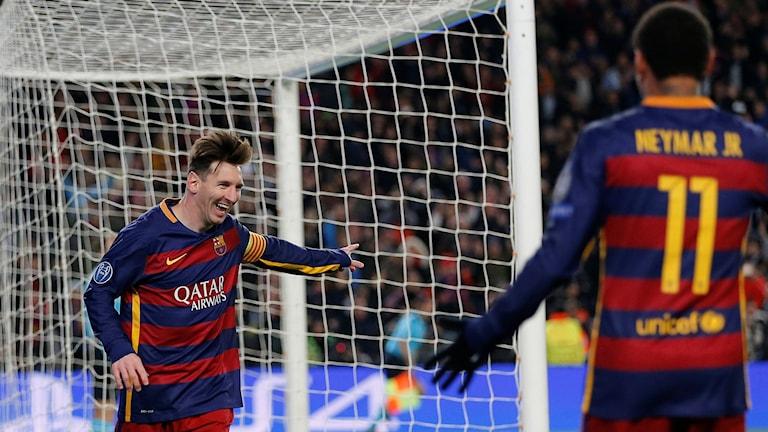 Messi och Neymar hade uppvisning mot Roma. Foto: TT