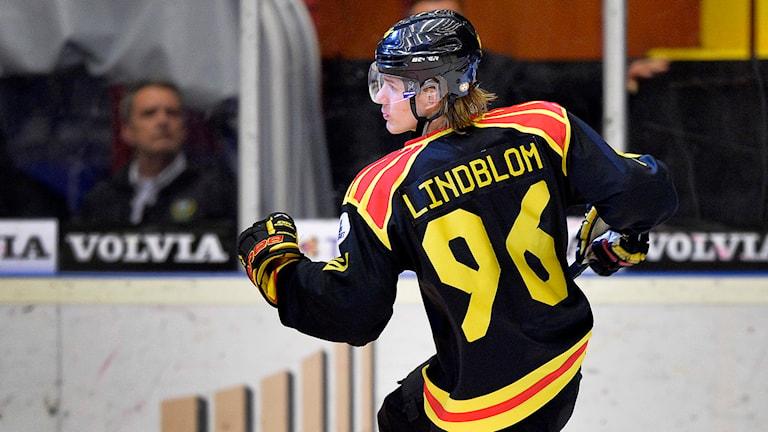 Brynäs Oskar Lindblom jublar efter 2-0. Foto: Anders Wiklund/TT