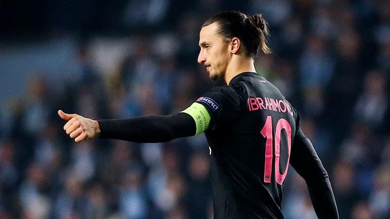 Zlatan Ibrahimovic firar sparsamt efter målet mot MFF. Foto: Andreas Hillergren/TT
