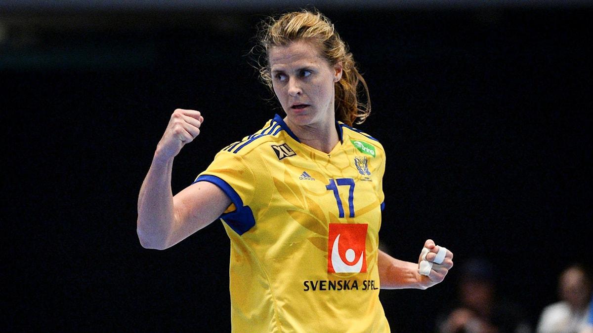 Sveriges Linnea Torstenson under handbolls-VM kvalmatchen mellan Sverige och Kroatien. Foto: Maja Suslin/TT