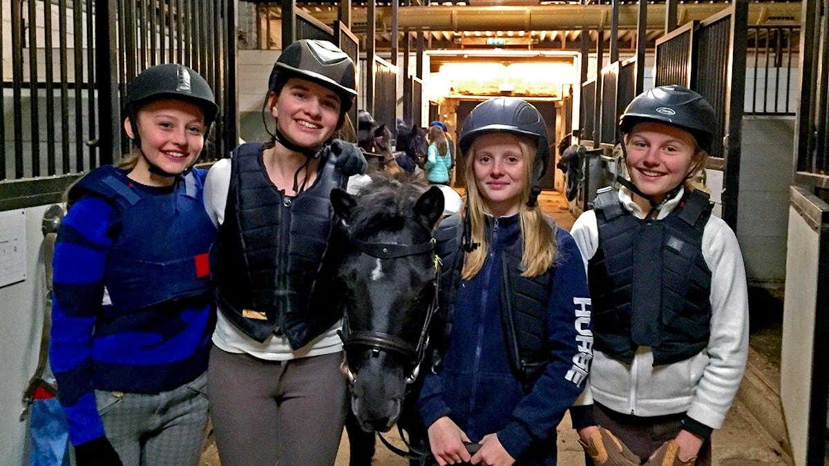 2015 Juniorsporten, Swartlings ridskola, Wanda, Emma, Anna och Elvira. Foto: Annika Nilsson/Sveriges Radio