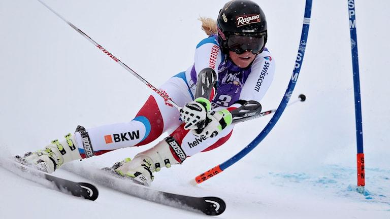 Lara Gut vann storslalomtävlingarna i Aspen. Foto: AP Photo/Nathan Bilow/TT