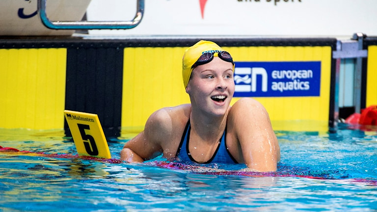 Simmaren Sophie Hansson blev femma på kortbane-EM. Foto: Marcus Ericsson/TT