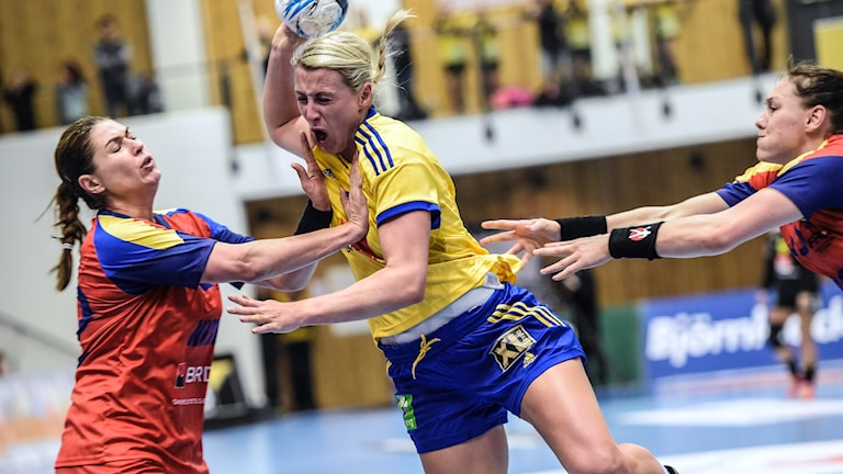 Johanna Ahlm i VM-genrepet i handboll. Foto: TT Nyhetsbyrån