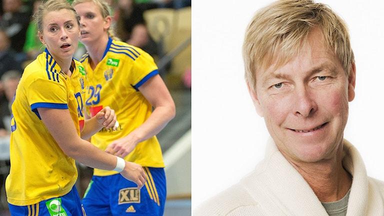 Radiosportens handbollsreporter Mats Dahlberg samt handbollslandslagets Isabelle Gulldén och Jenny Alm. Foton: TT och SR.