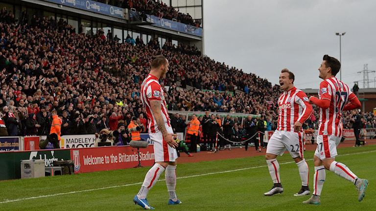 Stoke firar mål mot Manchester City