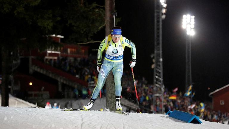 ÖSTERSUND 20151205 Sveriges Elisabeth Högberg under damernas 7.5 km sprint under världscupen i skidskytte i Östersund. Foto: Christine Olsson / TT