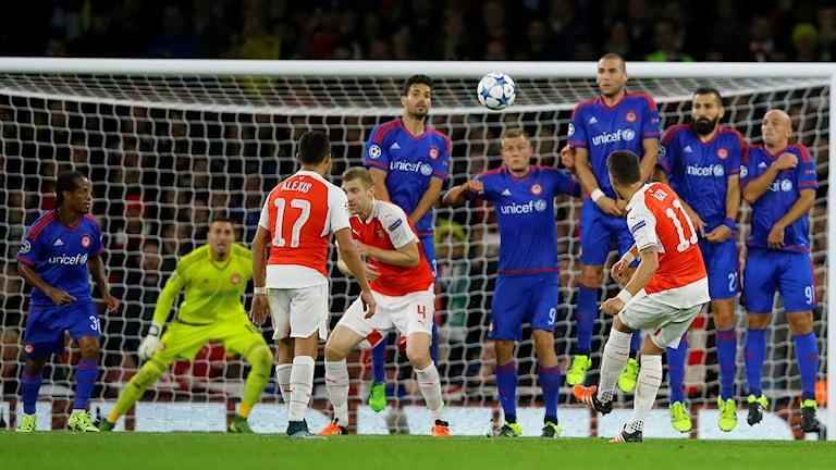2015 Arsenal-Olympiakos i Champions League. Foto: Kirsty Wigglesworth/TT