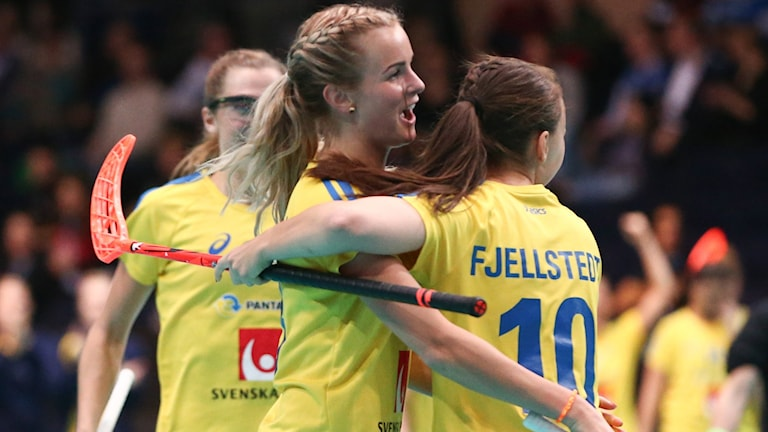 Svenskt jubel efter mål i semifinalen mot Schweiz. Foto: TT