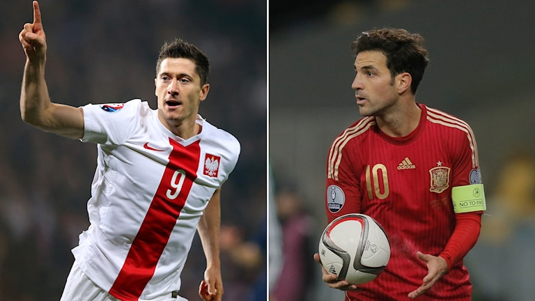 Polens Robert Lewandowski och Spaniens Cesc Fabregas. Foto: TT