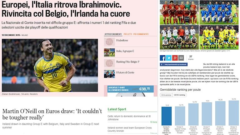 Skärmdump från La Gazzetta dello Sport, The Irish Times och Het Nieuwsblad