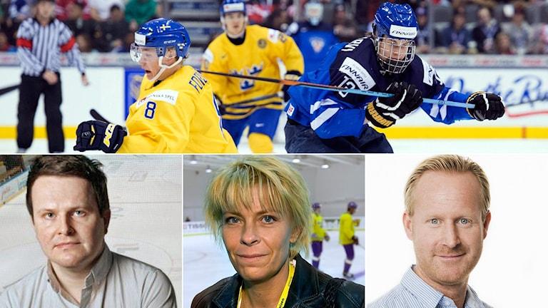 Yles Christoffer Herberts, DN:s Malin Fransson och Radiosportens Magnus Wahlman medverkar i veckans Istid. Foton: TT och SR.
