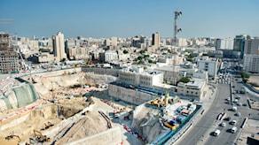 Arkivbild. VM-arena byggs i Doha. Foto TT NYhetsbyrån