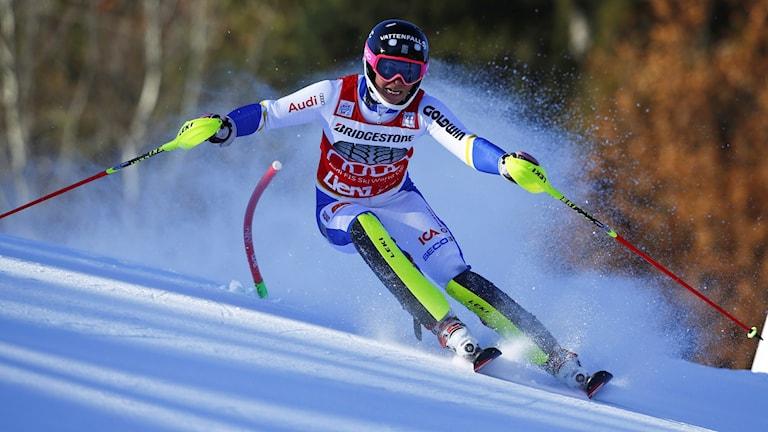 20151229 Frida Hansdotter under slalomen i Lienz, Österrike. Foto: Giovanni Aulett/TT