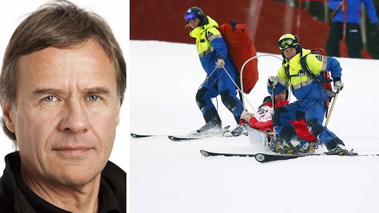 Torgny Svensson (t.v.). Sara Hector transporteras ner efter knäskadan i Åre