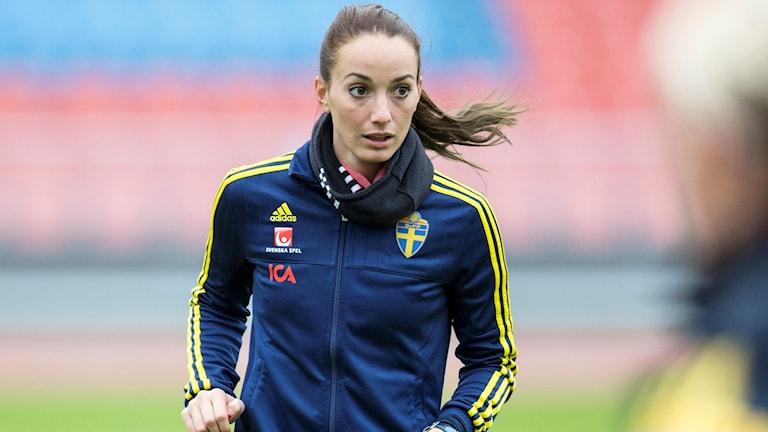 Kosovare Asllani under damlandslagets träning. Foto: Björn Larsson Rosvall/TT
